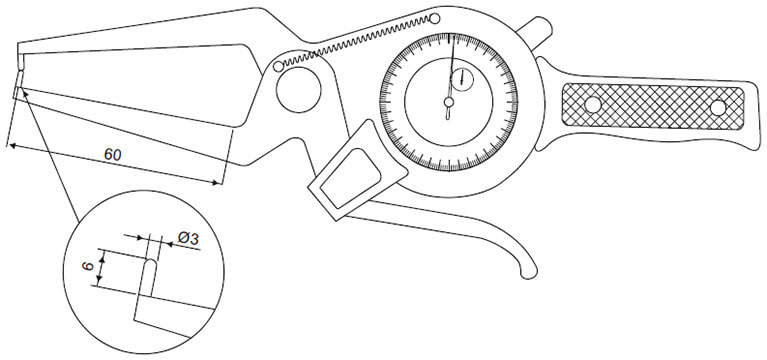 outside pistol caliper gauges - specifications & dimensions